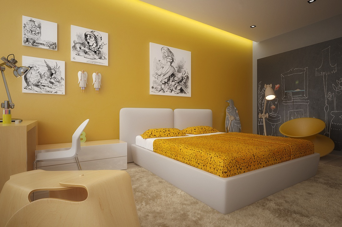 Yellow white kids room | Interior Design Ideas.