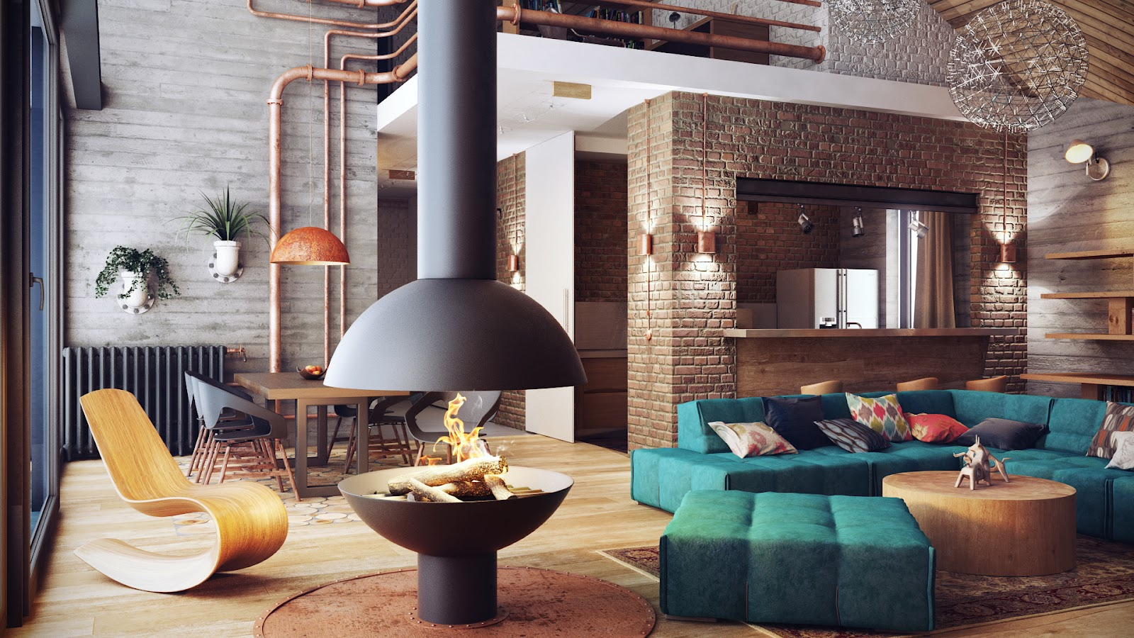 Industrial Style Bedroom Design The Essential Guide - A loft with industrial design by russian designer maxim zhukov