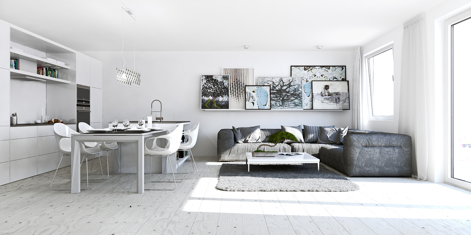 White studio apartments for Small studio apartment space