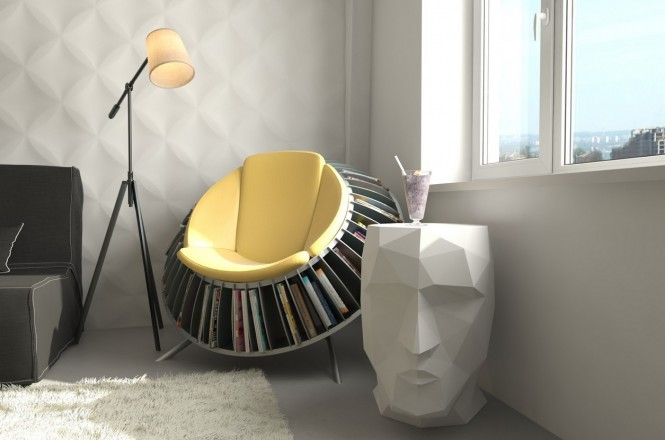 If you don't have enough floor space to dedicate a large area solely to your reading place, then how about just one chair? This rack chair is a quirky way to hold your reading material close at hand without encroaching on the rest of the room.