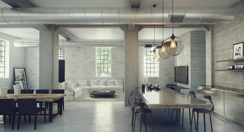 Industrial lofts for Industrial modern kitchen designs