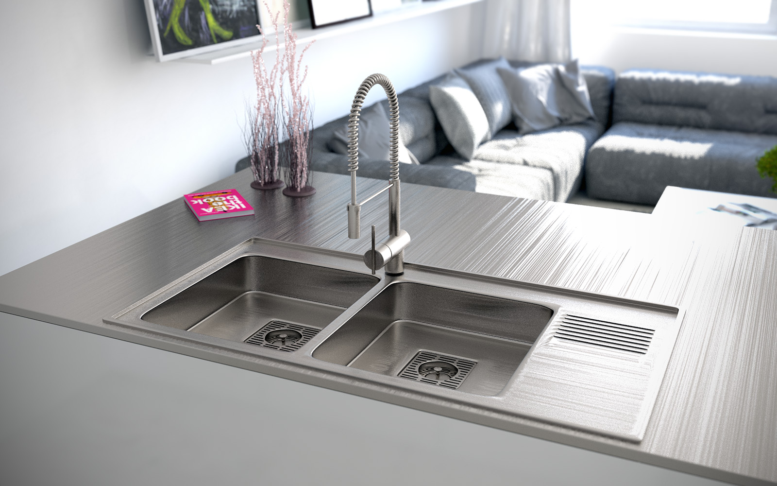 4 Stainless Steel Double Sink on beautiful house plans designs