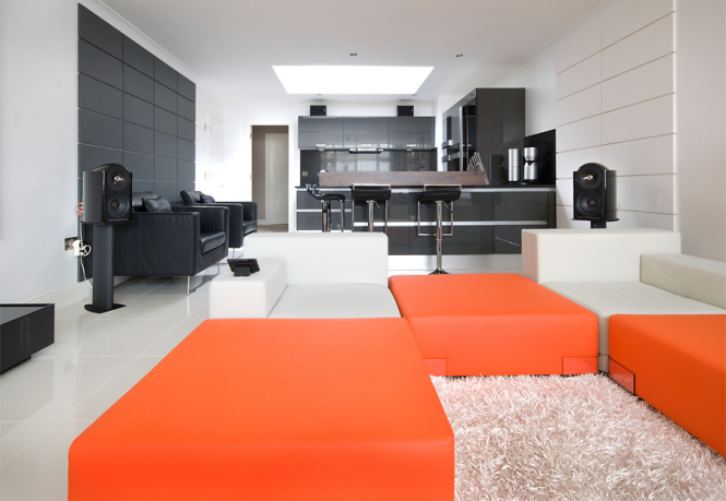 Orange sectional sofa