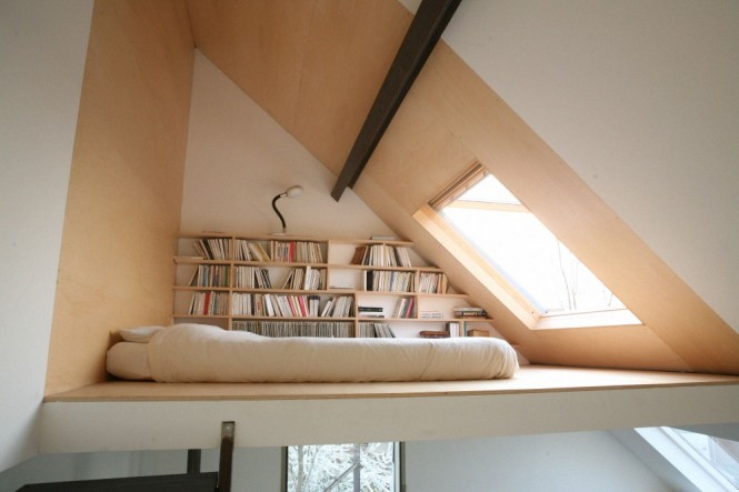 Awkwardly shaped and sized spots lend themselves perfectly to the function of a book nook. All you need is a comfy place to park yourself and some clever bespoke shelving to house your book collection.