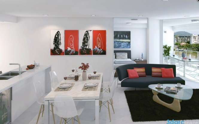 Via 3D Arc SpaceThis white-based apartment creates a color story with cleverly spaced home accessories, such as throw cushions, wall paintings, floral arrangements and even fruit. The red choices really inject a lot of warmth into the otherwise cool hues, and bring an overall more vibrant finish.