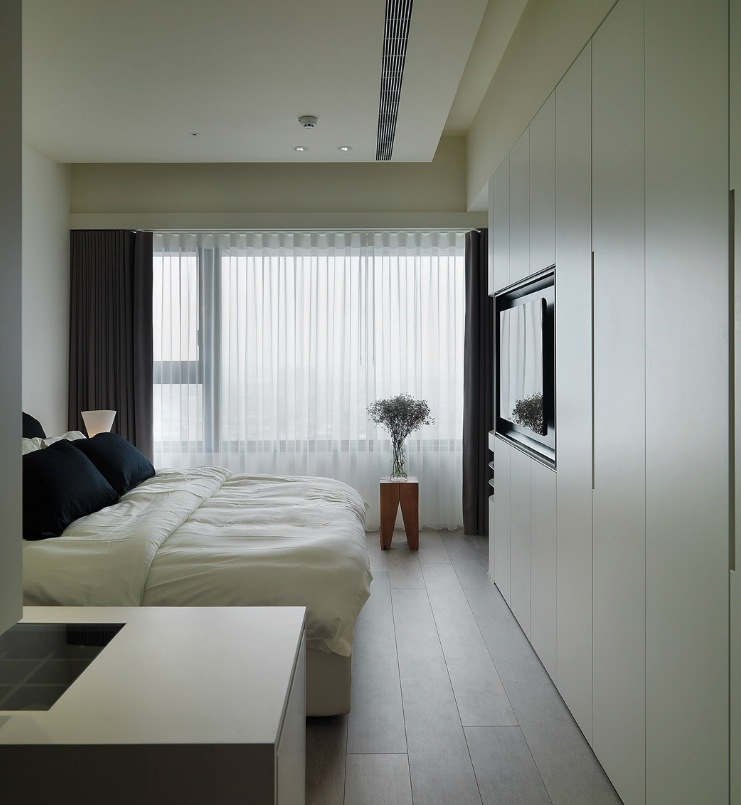 Taiwanese apartment with simple layout and punchy palette for Bedroom built in wardrobe designs