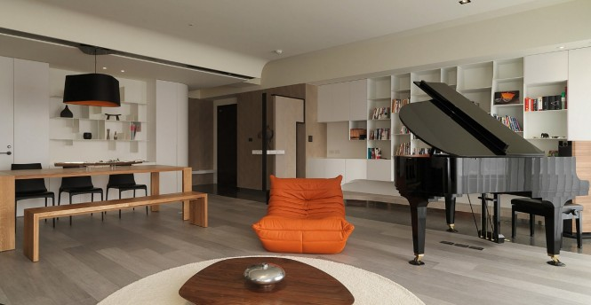 Orange black living room