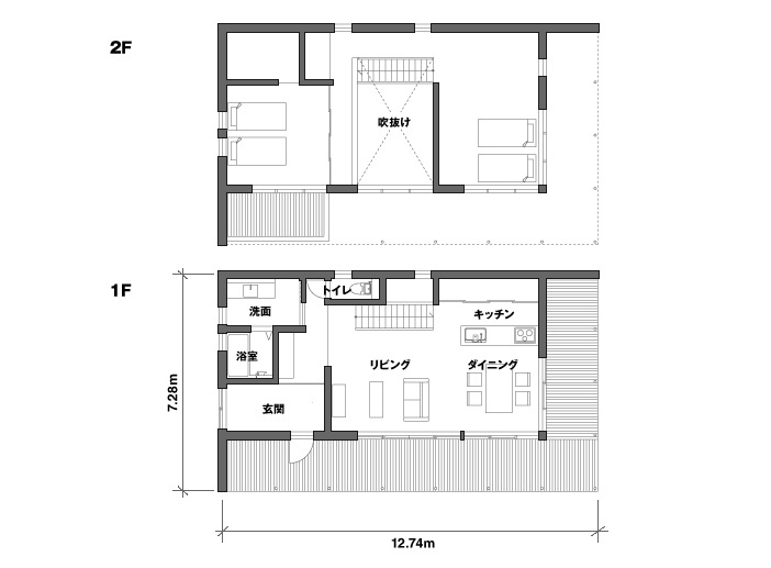 Simple open plan living for Japanese apartment plans