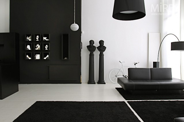 black & white statement decor