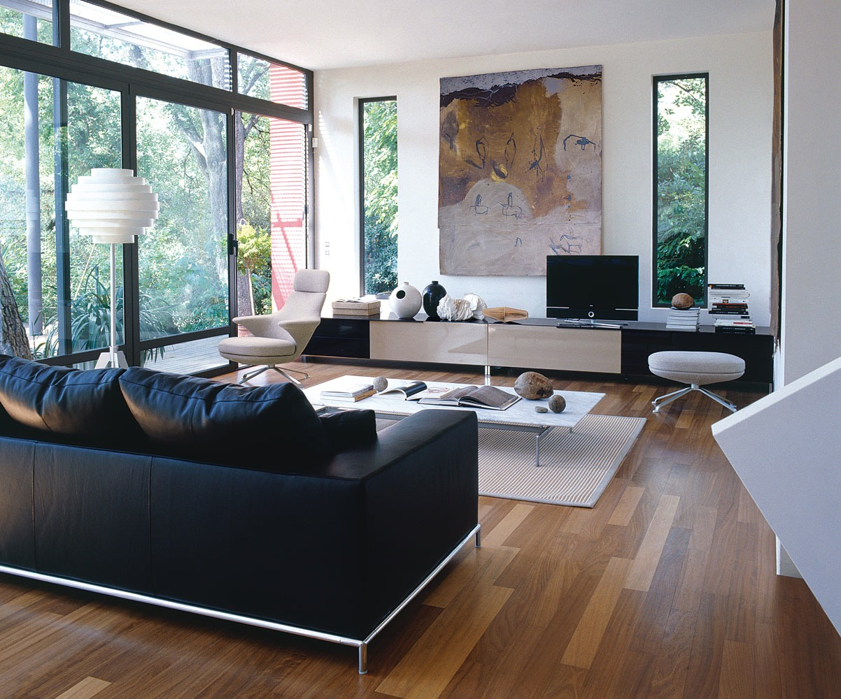 House in the forest - Black and white living room ...