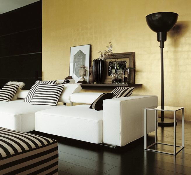 Black and bone are always a safe choice when it comes to interiors, a stripe can pep things up a bit.