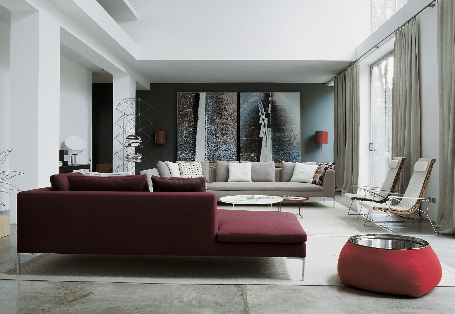 Burgundy sofa interior design ideas for Sofa interior design