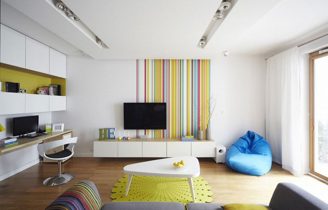 Colorful apartment living room design ideas - Apartment Livingroom Colors Vivacious Polish Apartment