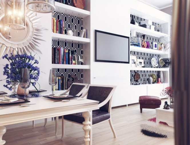 Although the space is heavily accessorized, every piece has its place to create a well-organized and together look.