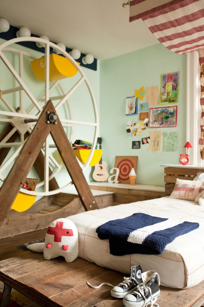 Design by Kate DixonFor those who have a little more space to play with, storage can be as much a piece of art as a practicality, like this Ferris wheel construction for example.