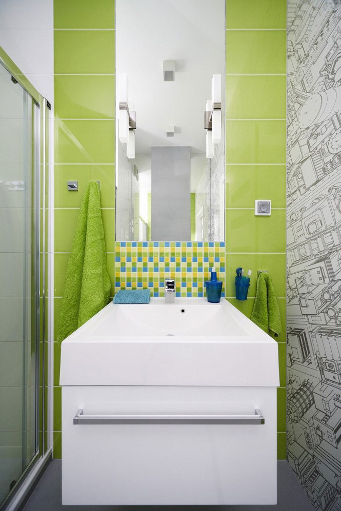 Green blue mosaic tiles
