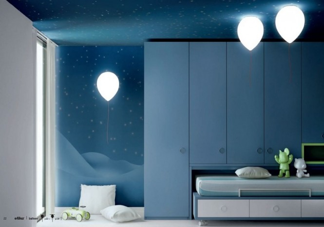 Balloon lights bring all the fun of the fair into a floaty bedroom scene.