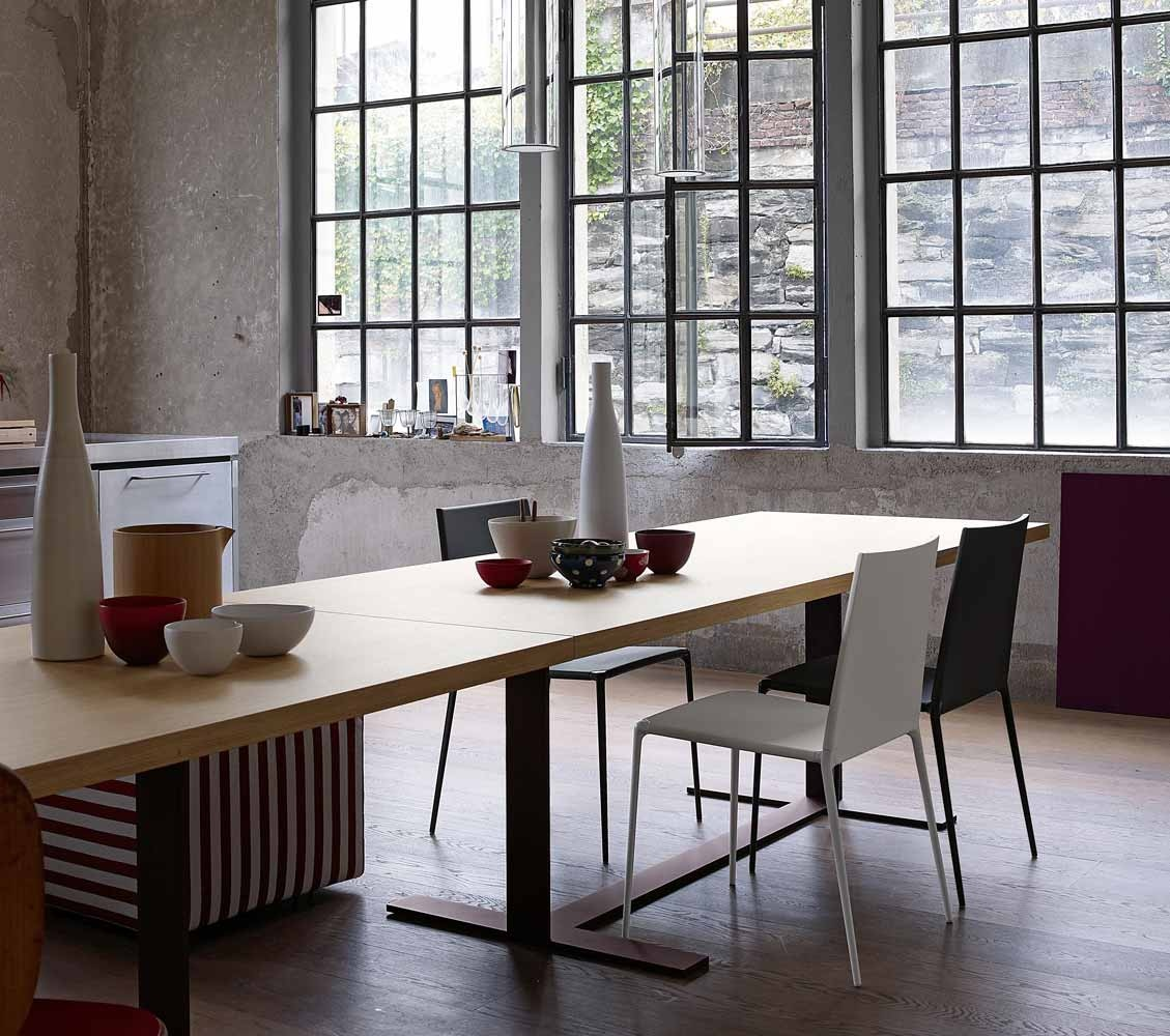 A hipster loft for Long dining room table decor