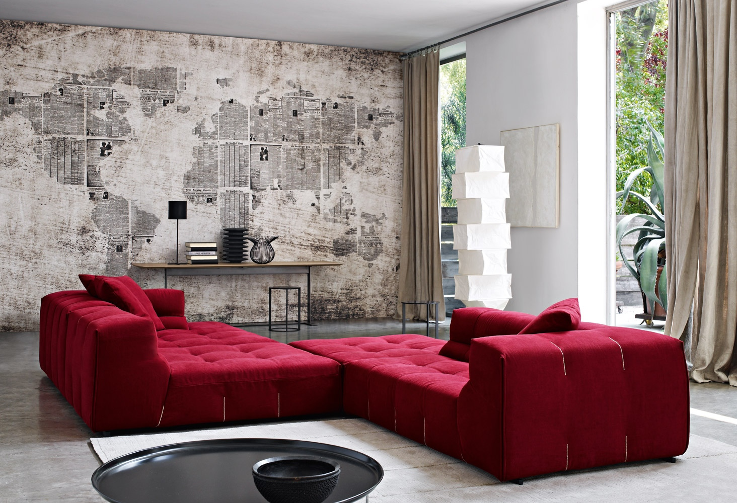 Red chaise lounge Interior Design Ideas