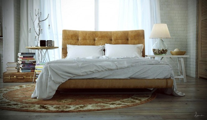 A mustard-toned soft leather bed takes center stage, picked out by a circular Persian rug.