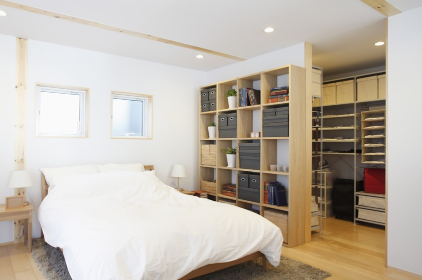 The open plan layout continues even into the bedroom, with an open ...