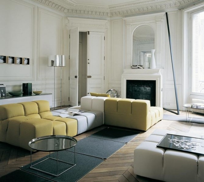 Yellow white sectional sofa