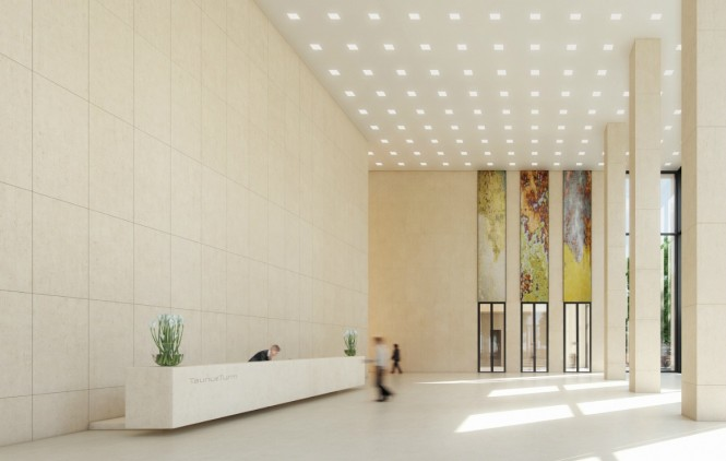 The arrangement of light and shade over this contemporary lobby visual gives a sense of depth, and an impression of mixed natural and artificial light sources.