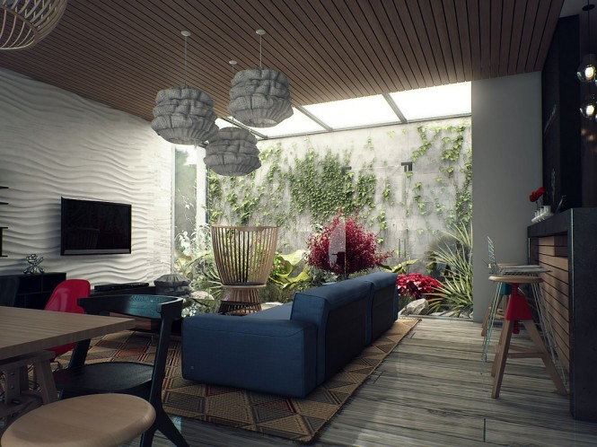 This impressive visualization by Iskander Khodzhaev uses a rich depth of color throughout it's interior, which is picked up in the planting of an internal courtyard installation. A punchy red accent runs between the two spaces, visually tying them together with a cheerful tone.
