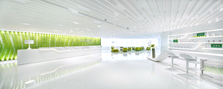 Green office inspiration where line meets lime for Commercial space design