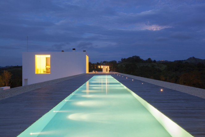Lit swimming pool