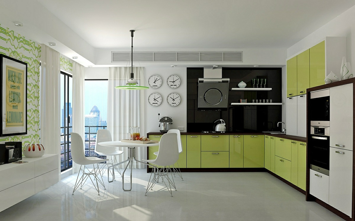Unexpected twists for modern kitchens for Modern green kitchen designs