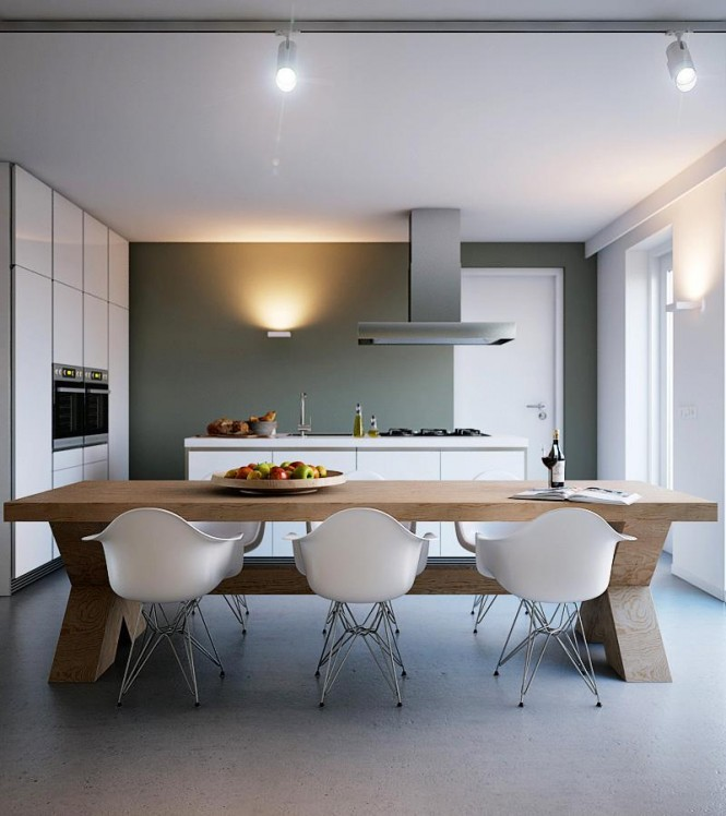 Here we see an alternative design that brings the earthy gray tone over onto an adjacent wall, making the ice white kitchen units stand out more crisply.