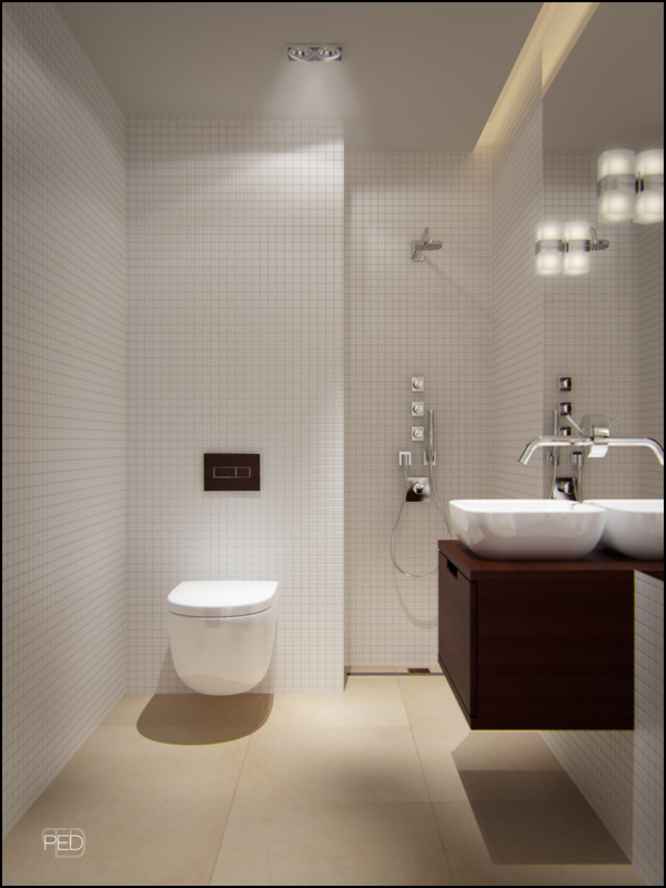 in the bathroom the sanitary ware and storage float around the perimeter to create the