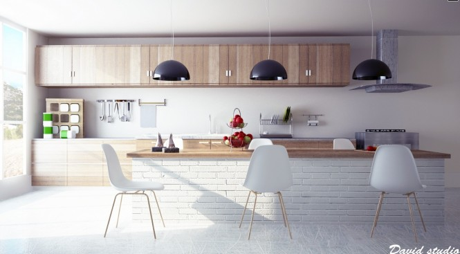 Modern wooden kitchen