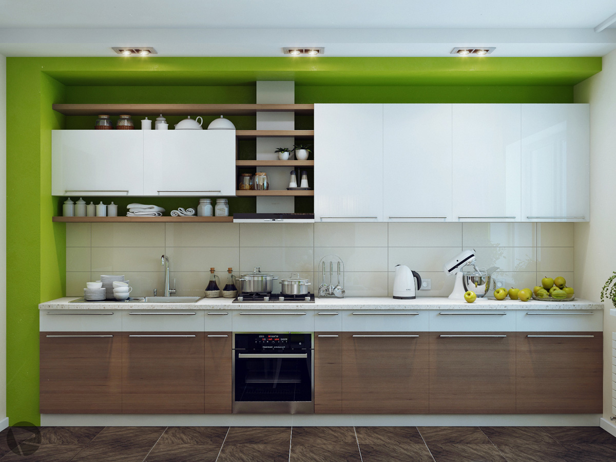 Green white wood kitchen interior design ideas for Modern kitchen units