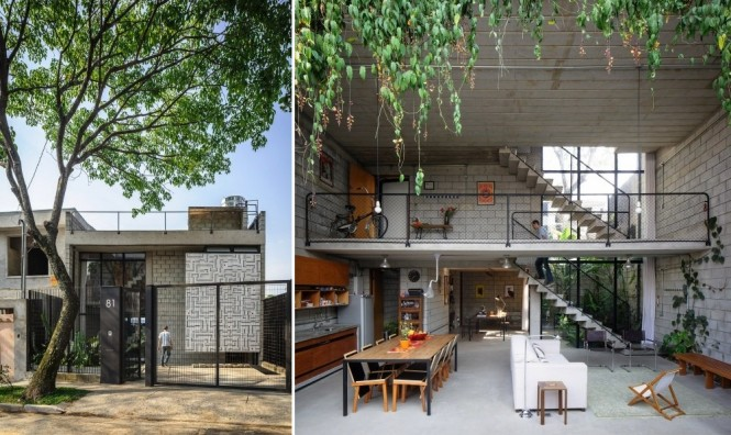 The industrial look of this real home, designed by architect Terra E Tuma, undergoes a beautiful softening effect from the introduction of some natural beauty.