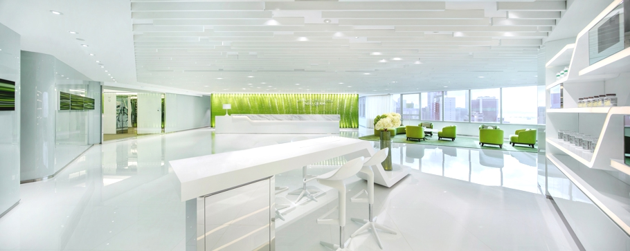 Green office inspiration where line meets lime for Green office interior design