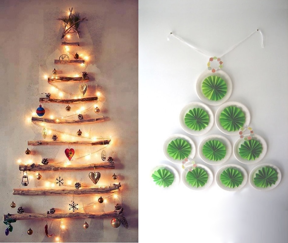 DIY Christmas trees walls  Interior Design Ideas.