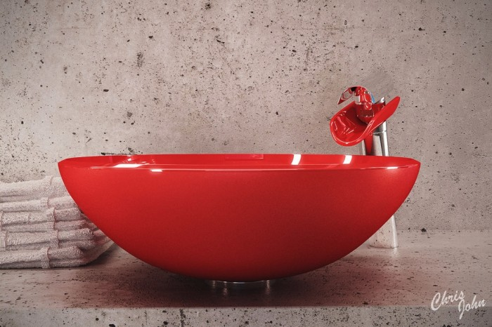 Modern bath with red vessel sink
