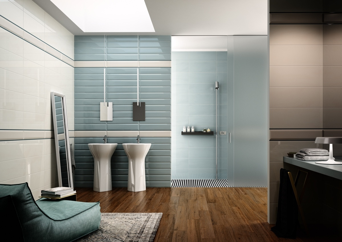 Modern bathrooms with spa like appeal for Carrelage salle de bain bleu