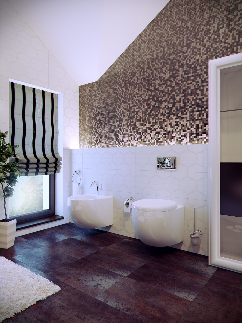 Modern bathrooms with spa like appeal for Designer bathroom flooring