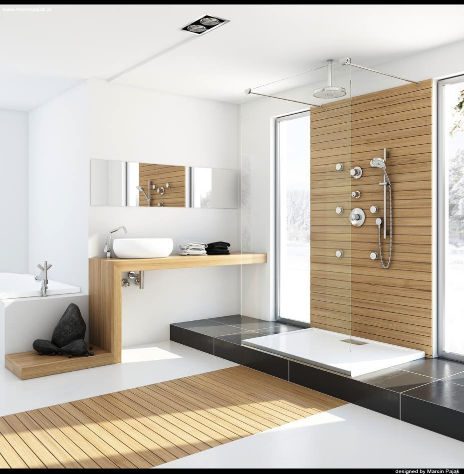 Modern bathroom with unfinished wood interior design ideas for Bathroom designs contemporary