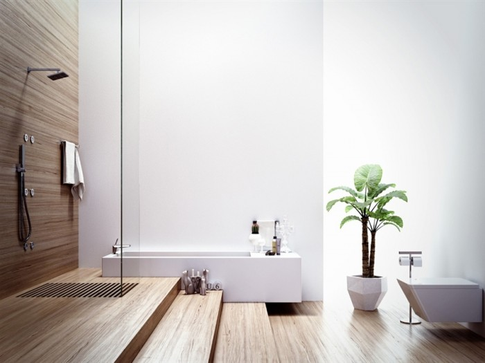 This minimalist bathroom has an Asian appeal which feels organic and natural. White walls paired with bamboo shower backdrop and flooring make for a calm, relaxing bath experience.
