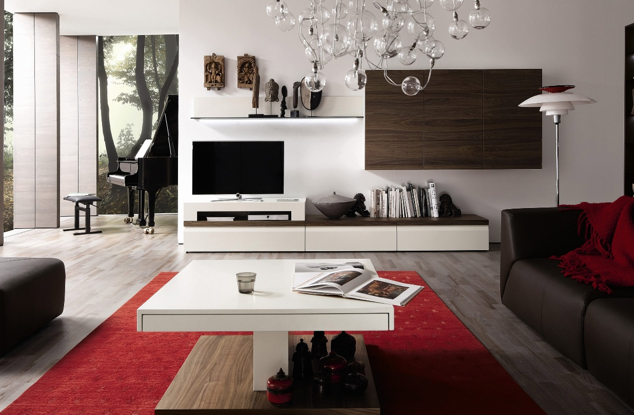 Wooden finish wall unit combinations from h lsta for Living room tv furniture ideas