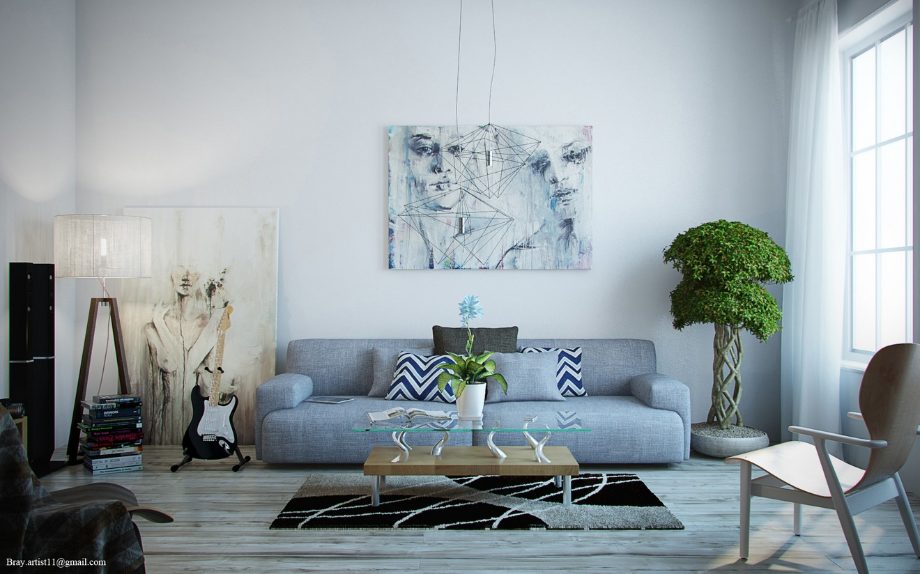 grey wood floor the modern artwork the blue grey sofa and the
