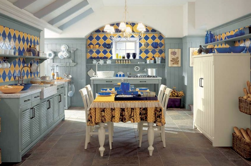 Blue And Yellow Tile Country Kitchen Interior Design Ideas