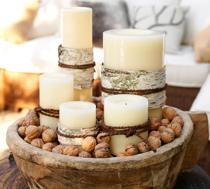 With Its Natural Elements Of Rustic Wood Bowl Candles And Nuts