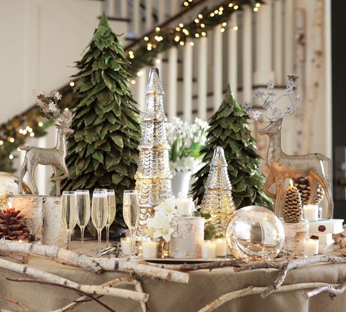 Christmas centerpieces White christmas centerpieces