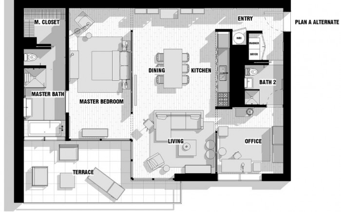 city apartment floor plan couples