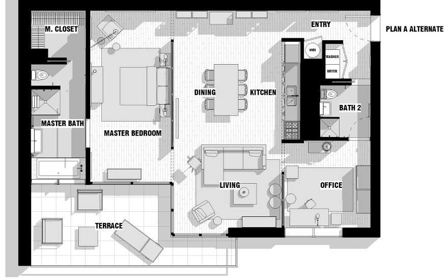 City apartment floor plan couples interior design ideas for Modern loft style house plans